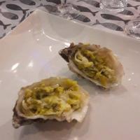 huître à la fondue de poireaux